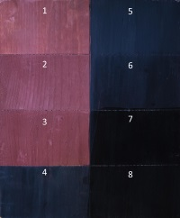 Eight Layers of Black-On-Red Finish: 1 - 1st Coat of Red 2 - 2nd ditto 3 - 3rd ditto 4 - Black Wash Coat 5 - Black Streaking Coat 6 - Burnish w/ Steel Wool 7 - 2 Coats of Shellac 8 - Carnauba Wax